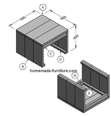 Plans to make a farmhouse style side table from scaffolding planks.
