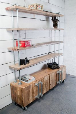 In the living room, cabinet with shelves made from reclaimed scaffolding.