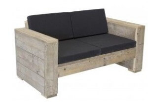 Small garden bench with cushions.