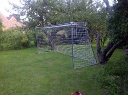 Large homemade goal for soccer.
