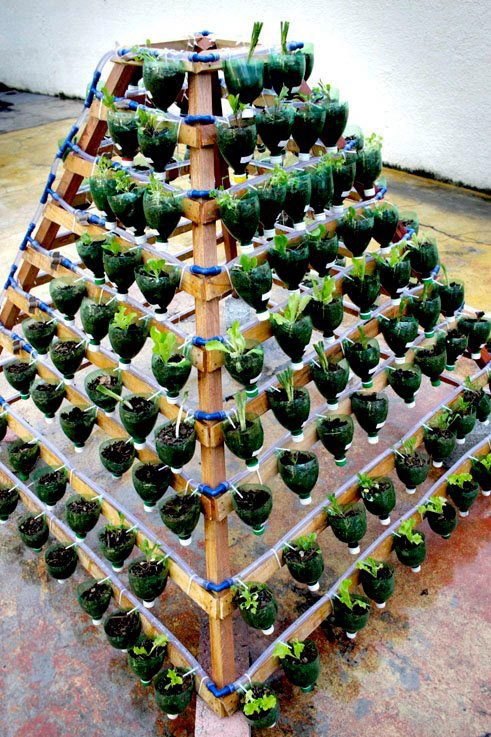 Square foot planter in pyramid shape.