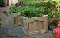Solid wooden plant boxes for outside.