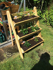 Easy gardening on a small area, planters made from repurposed wood.
