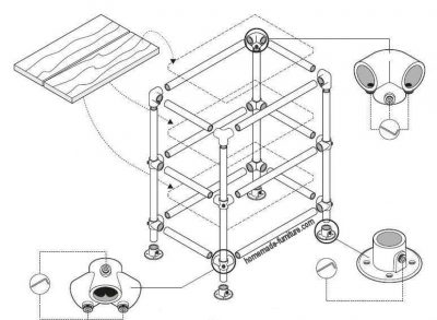 Construction drawing to make a kitchen table and storage unit from scaffolding pipes.