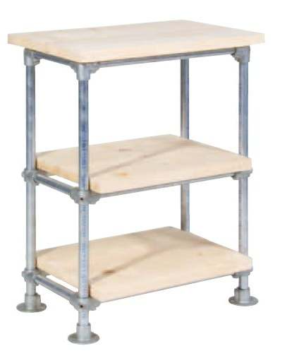 Kitchen Table Made With Scaffold Pipes And Shelves From