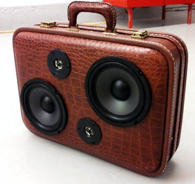 Boombox speakers built in a vintage travel case.