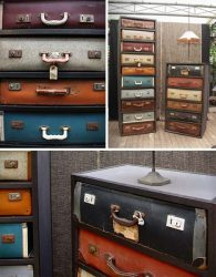 Chests and drawers made from repurposed travel cases trunks and suitcases.