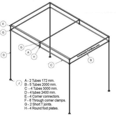Frame to make a sun shade from scaffolding tubes and clamps.