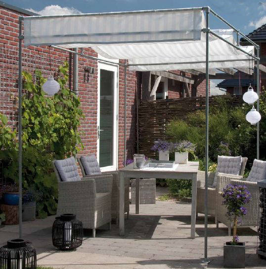 Sun shade pergola made from scaffold pipes and tube clamps.