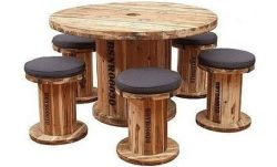 Table made from a large cable spool and several stools from smaller reels.