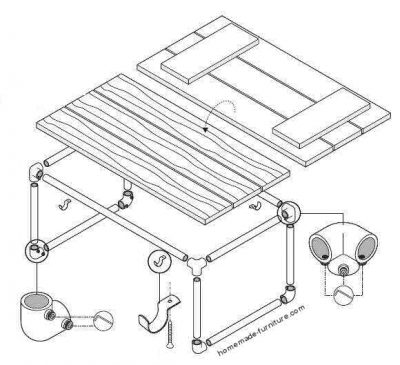 Construction drawing for a tube table from scaffolding.