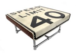 Tabletop from speed limit sign and frame made with scaffold tubes.