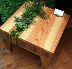 Low coffee table lounge style with planter in the top.