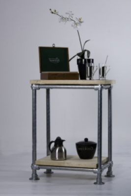 Tall sidetable with shelf.