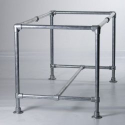 Strong steel table frame made from galvanised pipes.