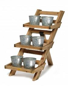 Planters on a rack for a vertical cascading garden.