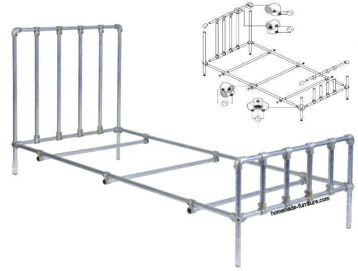 Bed construction drawings, single beds with scaffold tube and ...