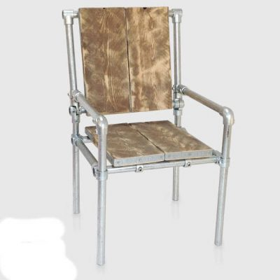 Chair made from scaffolding tubes and reclaimed wood.