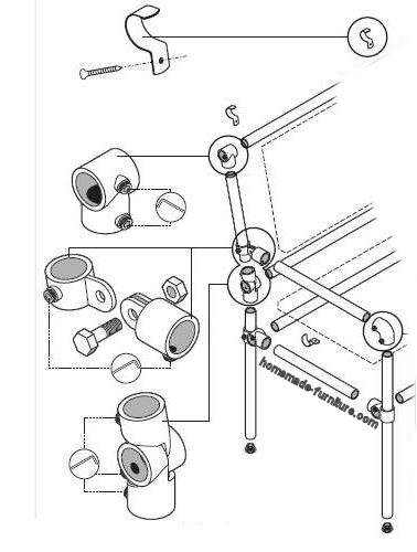 Fittings for scaffold pipes to make a tube chair with reclining backrest.