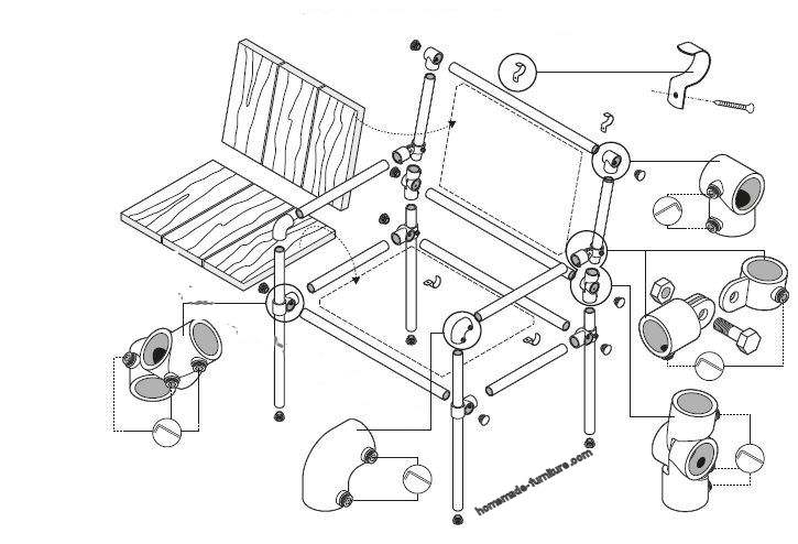 Construction drawing for the assembly of a chair with scaffold pipes and a couple of reclaimed planks.