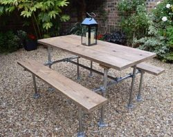 Garden table with benches, made from old scaffold pipes.