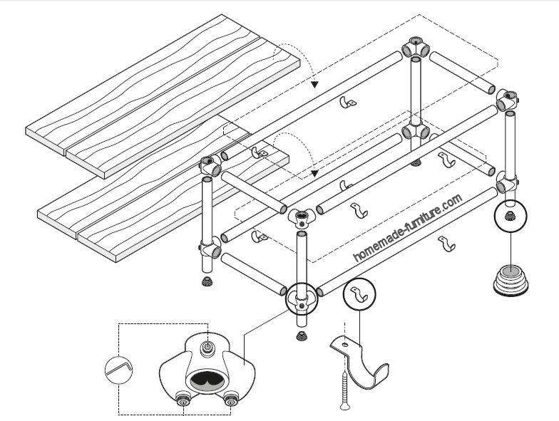 Construction drawing to make a TV table with frame from scaffolding pipes.