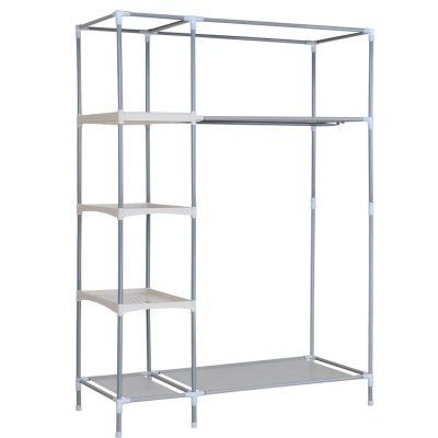Shelves and plenty of room to hang clothes.