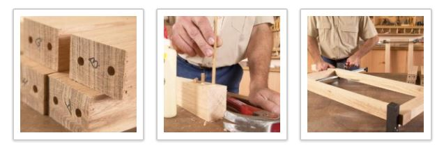How to make a wooden frame using dowels.
