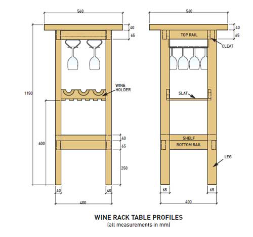 Wine rack construction drawing for high bar table for use with