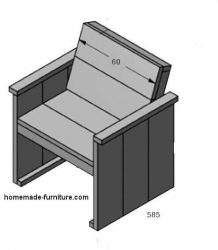 Construction example for assembly of a wooden garden chair.