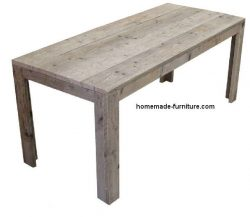 This grey wash dining table was made with our free construction plan and drawings for scaffold furniture.