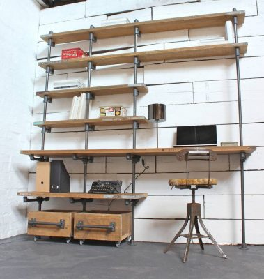 Workspace made from repurposed scaffolding.