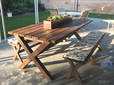 Picnic Table With X Frame Construction Diy Examples